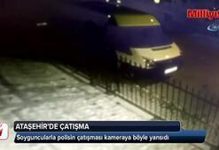 Ataşehirde soyguncularla polisin çatışma anı kamerada