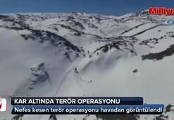 Kar altında terör operasyonu havadan görüntülendi