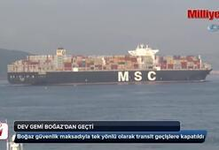 Dev gemi Çanakkale Boğazı'ndan geçti