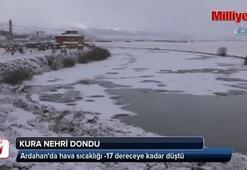 Sıcaklığının sıfırın altına inmesiyle Kura Nehri dondu