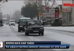 Erzincana kar yağdı