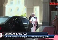 Cumhurbaşkanı Erdoğan, Katar'da resmi törenle karşılandı