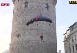 Ekstrem sporcusu Cengiz Koçak, Galata Kulesinden atladı