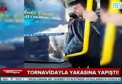 Şoför tornavidayla yolcuyu tehdit etti