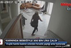 4 aylık hamile kadının evlerden hırsızlık yaptığı anlar kamerada