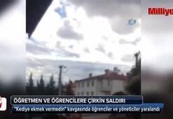 Öğretmen ve öğrencilere çirkin saldırı kamerada