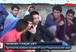 Denizde sürüklenen tekneden 71 kaçak çıktı