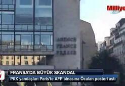 PKK yandaşları Pariste AFP binasına Öcalan posteri astı