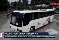 Yol uygulamasında durdurulan 44 kişilik otobüsten 144 kaçak göçmen çıktı