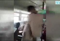 Otobüste yolcu ile kadın görevli arasında kavga