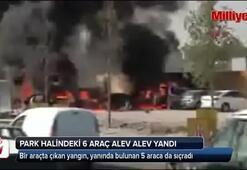 Park halindeki 6 araç alev alıp yandı