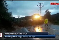 Rize'de şiddetli yağış hasara yol açıyor