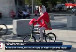 'Süslü Kadınlar' bisikletleriyle İstanbul trafiğinde pedal çevirdi