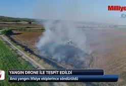 Anız yangını drone ile tespit edildi, itfaiye ekipleri söndürdü