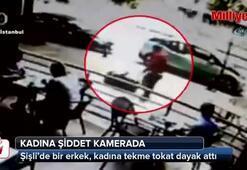 İstanbul'un göbeğinde kadına şiddet kamerada