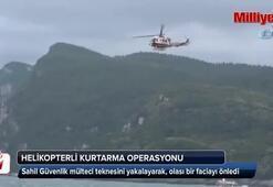 Mülteci teknesine helikopterli kurtarma operasyonu