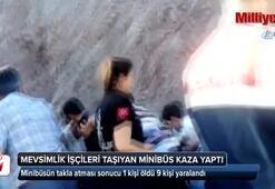 Kayısı işçilerini taşıyan minibüs kaza yaptı