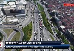 İstanbulda başlayan bayram trafiği havadan görüntülendi
