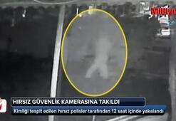 Televizyon çalan hırsız güvenlik kamerasına takıldı