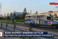 Yolcu minibüsleri Basın Ekspres yolunu birbirine kattı