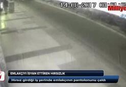 Hırsız girdiği iş yerinde emlakçının pantolonunu çaldı