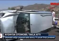 Takla atan otomobildeki 5 kişi yaralandı