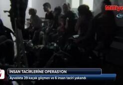 Ayvalıkta 39 kaçak göçmen ve 6 insan taciri yakandı