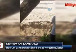 Bodrumda toprağın çökme ve deprem anı kamerada