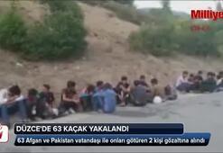 Düzcede durdurulan otobüste 63 kaçak yakalandı