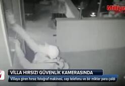 Villa hırsızı güvenlik kamerasında
