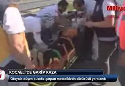Otoyola düşen pusete çarpan motosikletin sürücüsü yaralandı