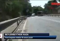 Üsküdarda freni boşalan otobüs 10 araca çarptı