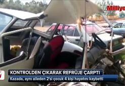 Kontrolden çıkan araç refüje çarptı: 2si çocuk, 4 ölü