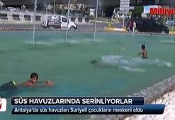 Süs havuzları Suriyeli çocukların meskeni oldu