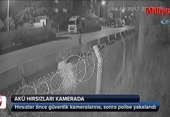 Akü hırsızları kamerada