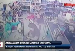 Antalyada süpermarkette bıçaklı soygun