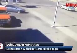 Sarhoş kadın sürücü defalarca direğe çarptı