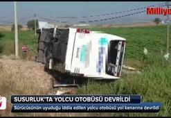 Susurlukta yolcu otobüsü devrildi