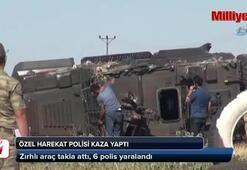 Zırhlı polis aracı takla attı