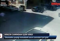 Aracın camından içeri girdi