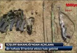 İçişleri Bakanlığı: 51 terörist öldürüldü