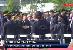 Şehit komutana veda Törene Erdoğan da katıldı