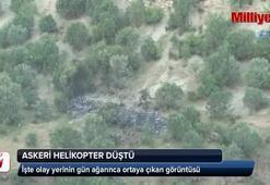 Şırnak'ta düşen helikopterin gündüz görüntüsü