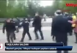 Maskeli gençler, 1 Mayıs'ı kutlayan yaşlılara saldırdı