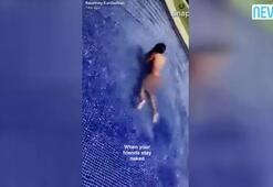 Kourtney Kardashian havuza çırılçıplak girdi