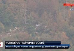 Tuncelide helikopter düştü