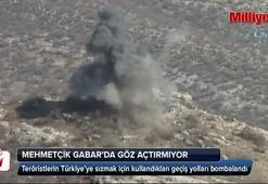 Mehmetçik, teröristlerin geçiş güzergahını böyle vurdu