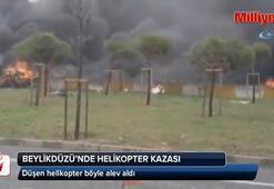 İstanbulda düşen helikopter alev alev yandı