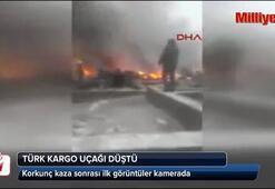 Türk kargo uçağı Kırgızistanda evlerin üzerine düştü