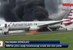 ABDde yolcu uçağı pistte yandı